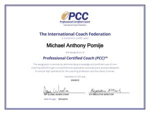 ICF Credential Certificate Michael, PCC